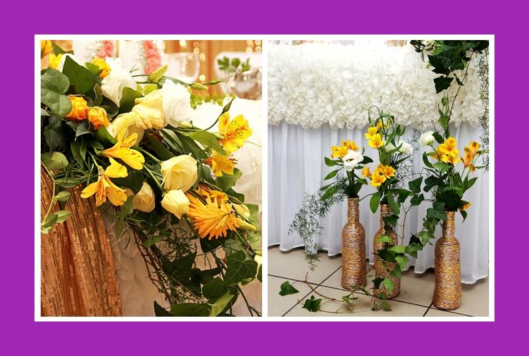 Blumendeko goldene Hochzeit