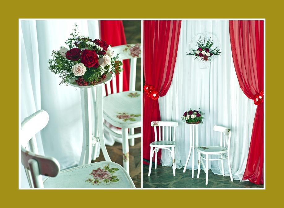 Blumengestecke Rot Weisse Hochzeit Blumenschmuck