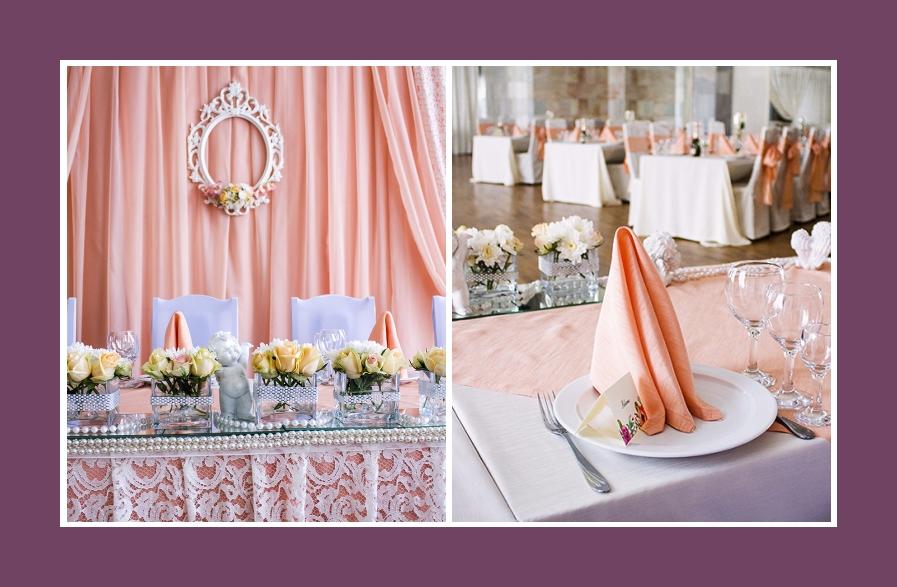Brautpaartisch Hintergrund in Rosa mit weißem Provence Rahmen