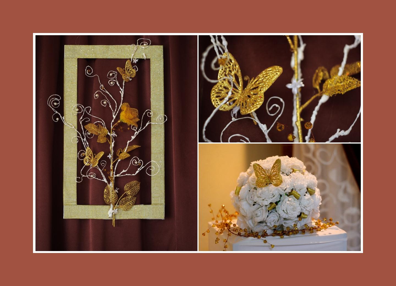 Decoaccessoires mit Schmetterlingen in Gold für Brautpaartisch Hintergrund
