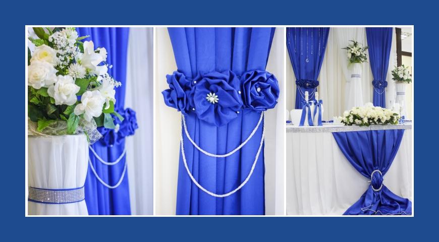 Deko Hochzeit in Blau und Weiß mit Satin und Chiffon