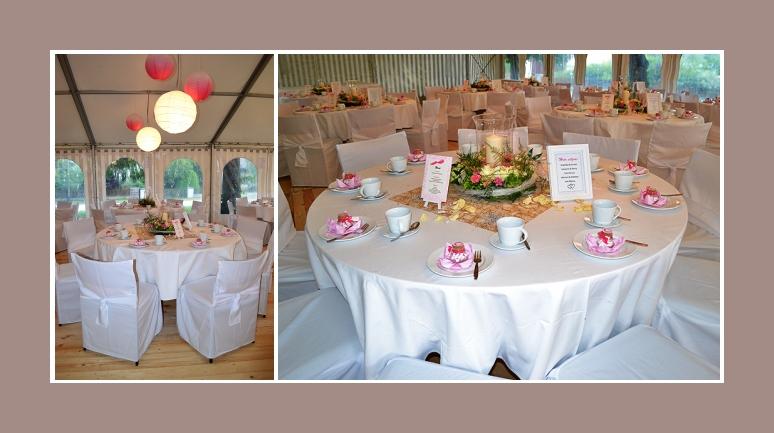 Dekoration Hochzeit runde Tische im Zelt
