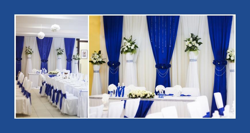 Hochzeitsdeko Blau Weiß mit Stuhlhussen