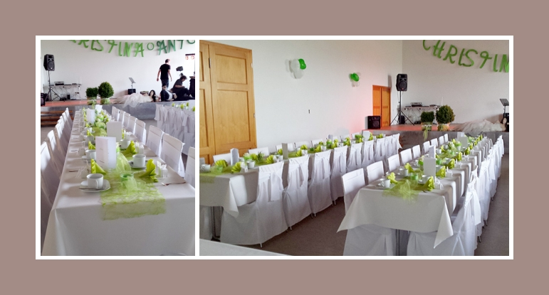 Selbstgemachte Hochzeitsdeko in grün-weiß - Stuhlhussen Nr1