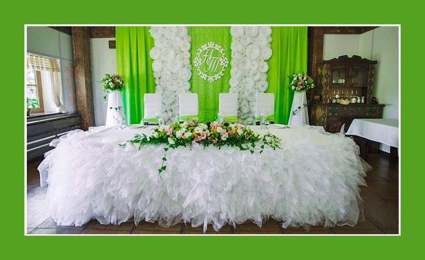 Hochzeitsdeko Weiß Hellgrün für Frühling und Sommer