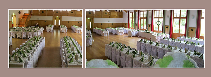 Hochzeitslocation Dekoration grün-weiß