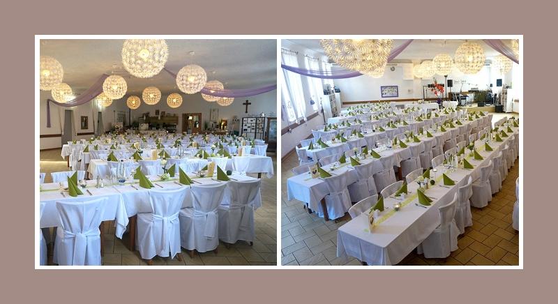 Hochzeitslocation dekoration gruen weiss Hussen