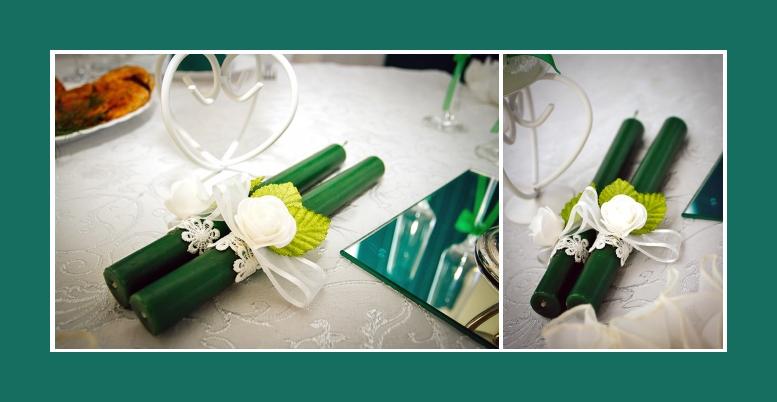 Kerzen Deko gruen mit Blumen tischdeko Geburtstag hochzeit
