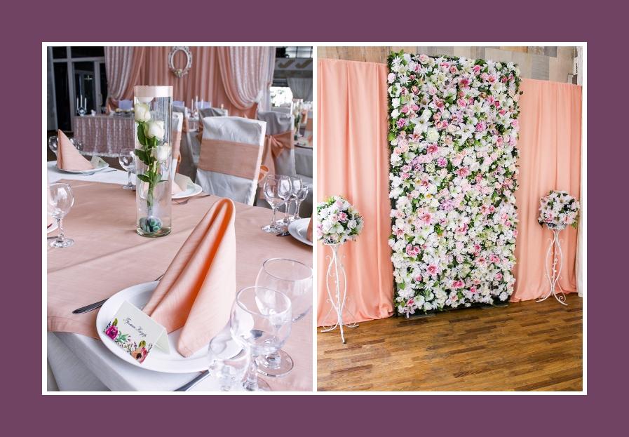 Rosa Fotowand aus Blumen und Rosen in langen Vasen
