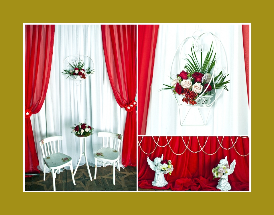 Rote Rosen Blumendeko Hochzeit