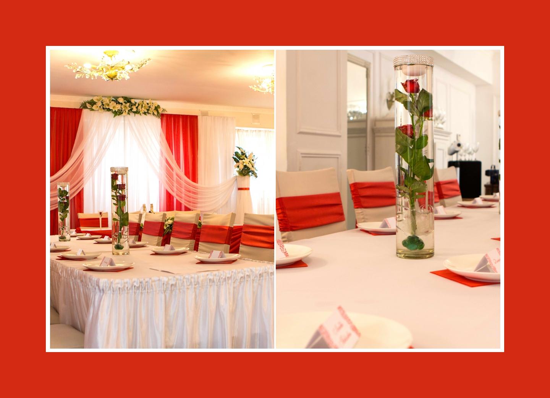 Schicker Hochzeitssal in Rot