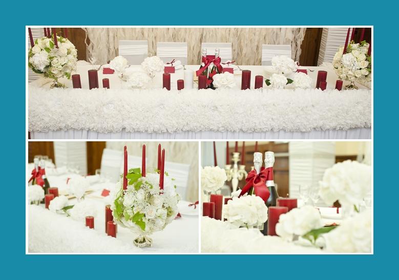 Schlichte Dekoration Hochzeit in weiss rot gruen