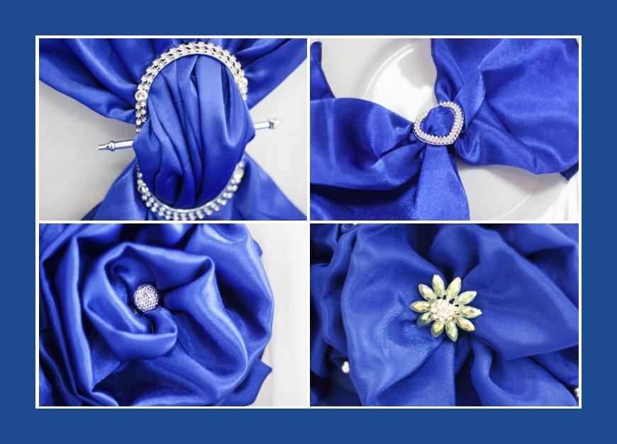 Stoffblumen Broschen Stoffdrapierungen Blau für Hochzeit