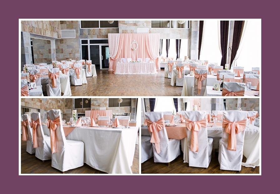 Stuhldeko weiße Stuhlhussen mit rosa Schleifen
