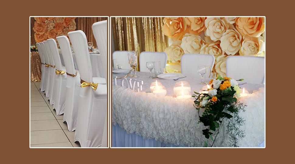 Stuhlhussen Hochzeit goldene Schleifen Baender Schaerpen