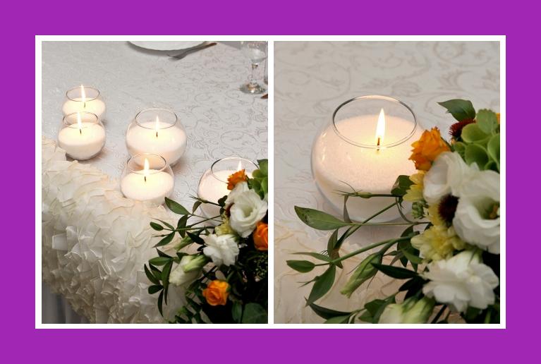 Tischdeko Kerzen in runden vasen am tag