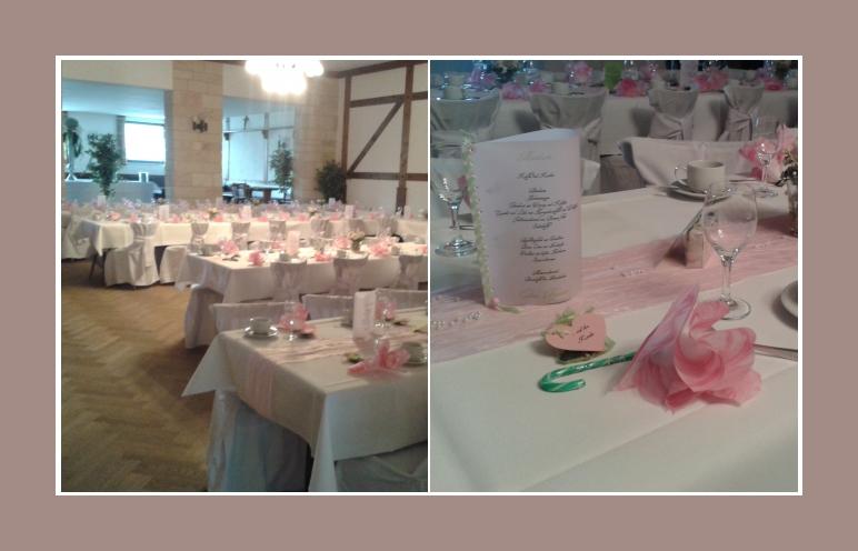 Tischdeko rosa rustikale Hochzeitslocation