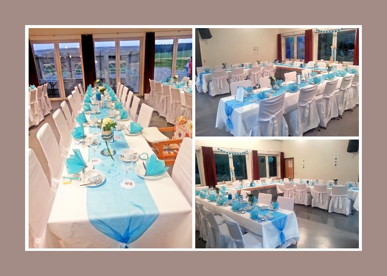 Himmelsblaue Hochzeitsdeko von Manu & Peter  ab 1