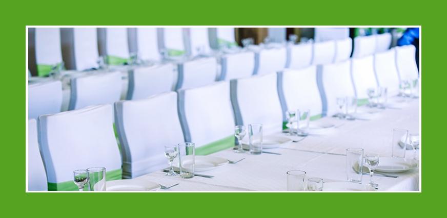 Tischdeko Stuhldeko elegant in Weiß und Grün für Hochzeit