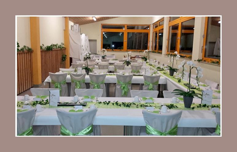 Tischdeko weiss gruen Hochzeit