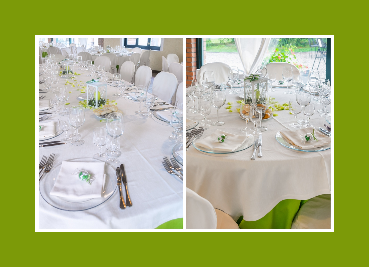 Tischdeko weiß-grün mit Laterne