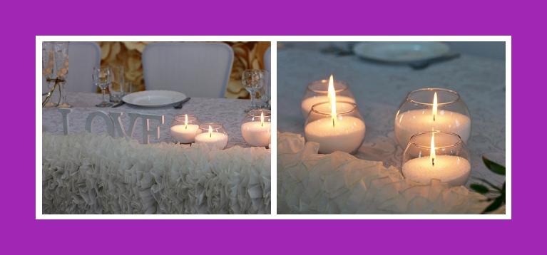 Tischdekoration Hochzeit Kerzen rund abend