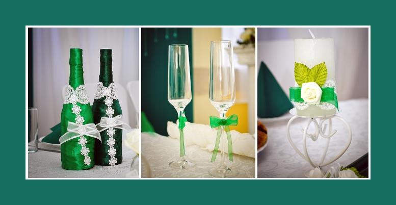 Tischdekoration Hochzeit sekt flaschen glaeser kerzen
