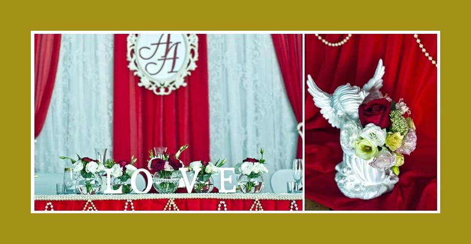 Tischdekorationen mit Engel Blumen Hochzeit Rot