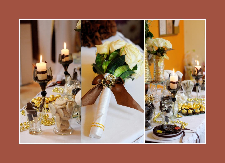 Weiße Blumen und Kerzen auf dem Tisch für den Sektempfang