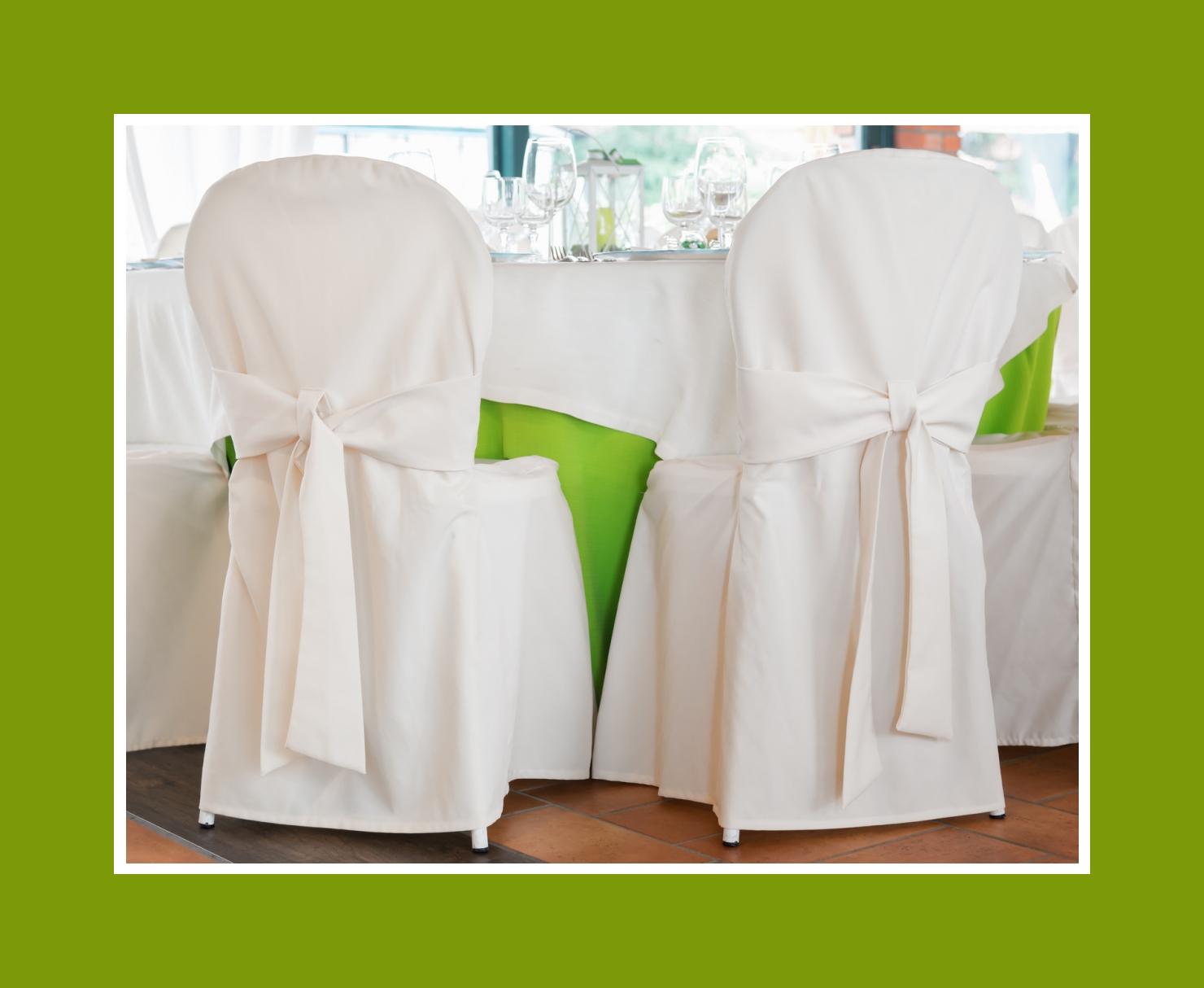 Weiße Stuhlhussen