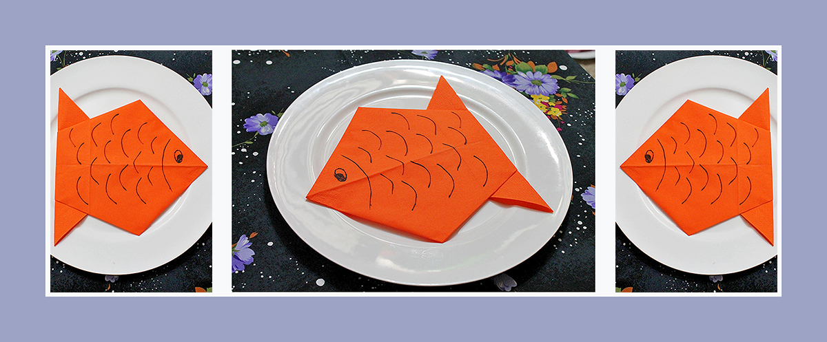 Servietten falten Fisch Kindergeburtstag Anleitung schnell und einfach