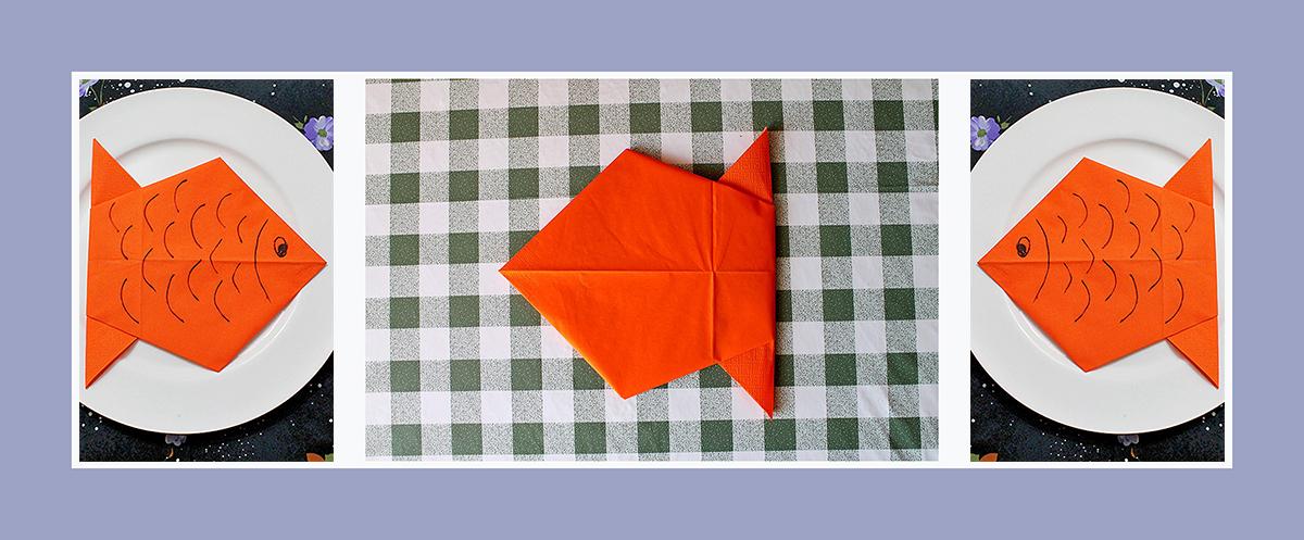 Servietten falten Fisch Kindergeburtstag Kindermotive