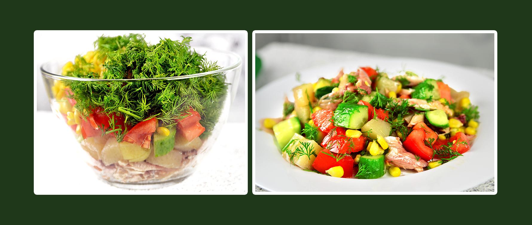 Gemüsesalat mit Hähnchenbrustfilet und Dill Rezept