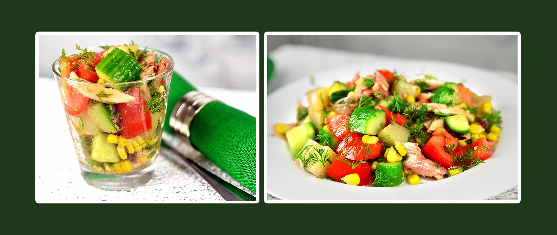 Gemüsesalat mit Hähnchenbrustfilet lecker und gesund für den Festtisch