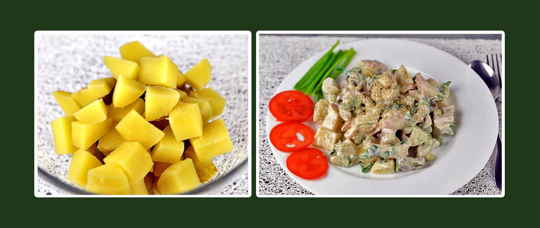 Hähnchen-Salat mit Kartoffeln und Dressing aus Schmand & Senf