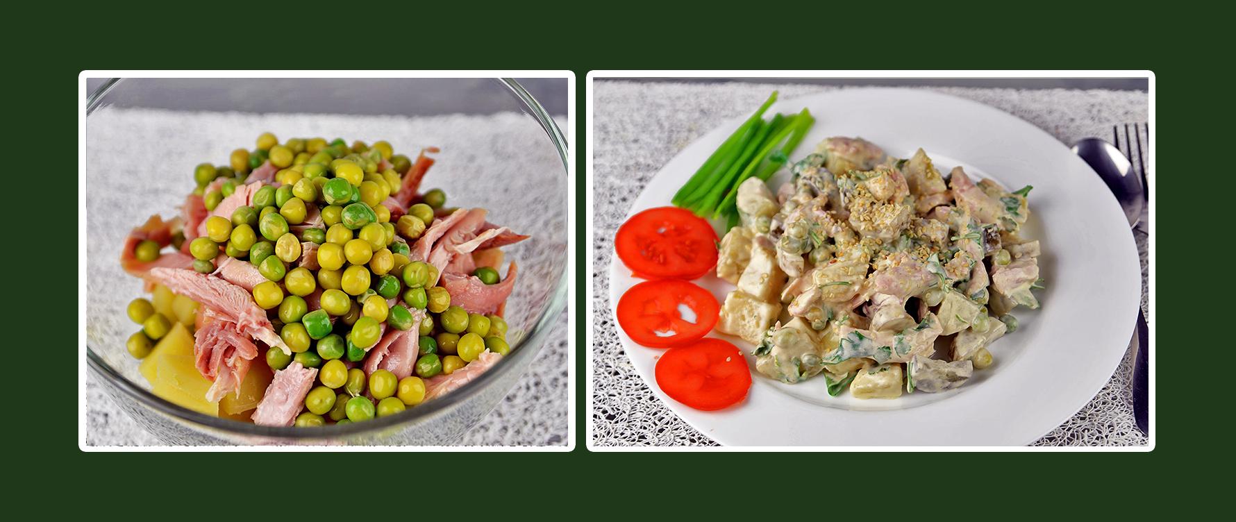 Hähnchen-Salat mit Dressing aus Schmand & Senf und grünen Erbsen