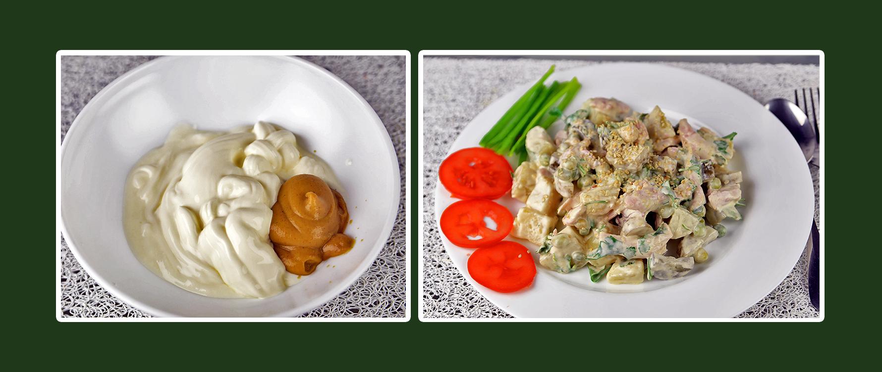 Dressing für Hähnchen Salat aus Schmand und Senf