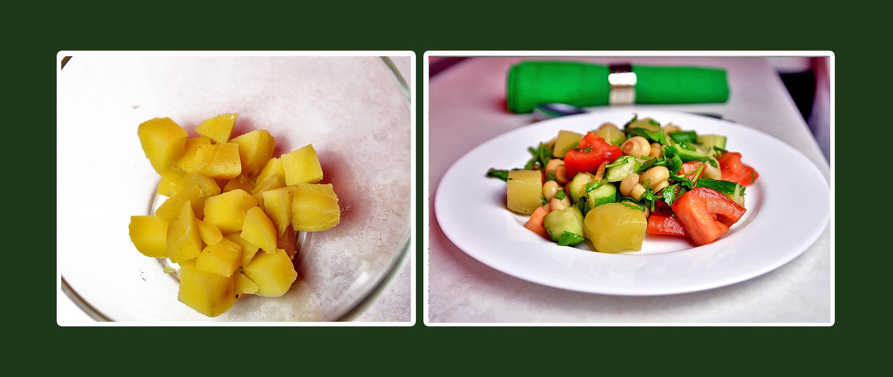 Gemüsesalat mit marinierten Champignons und Kartoffeln