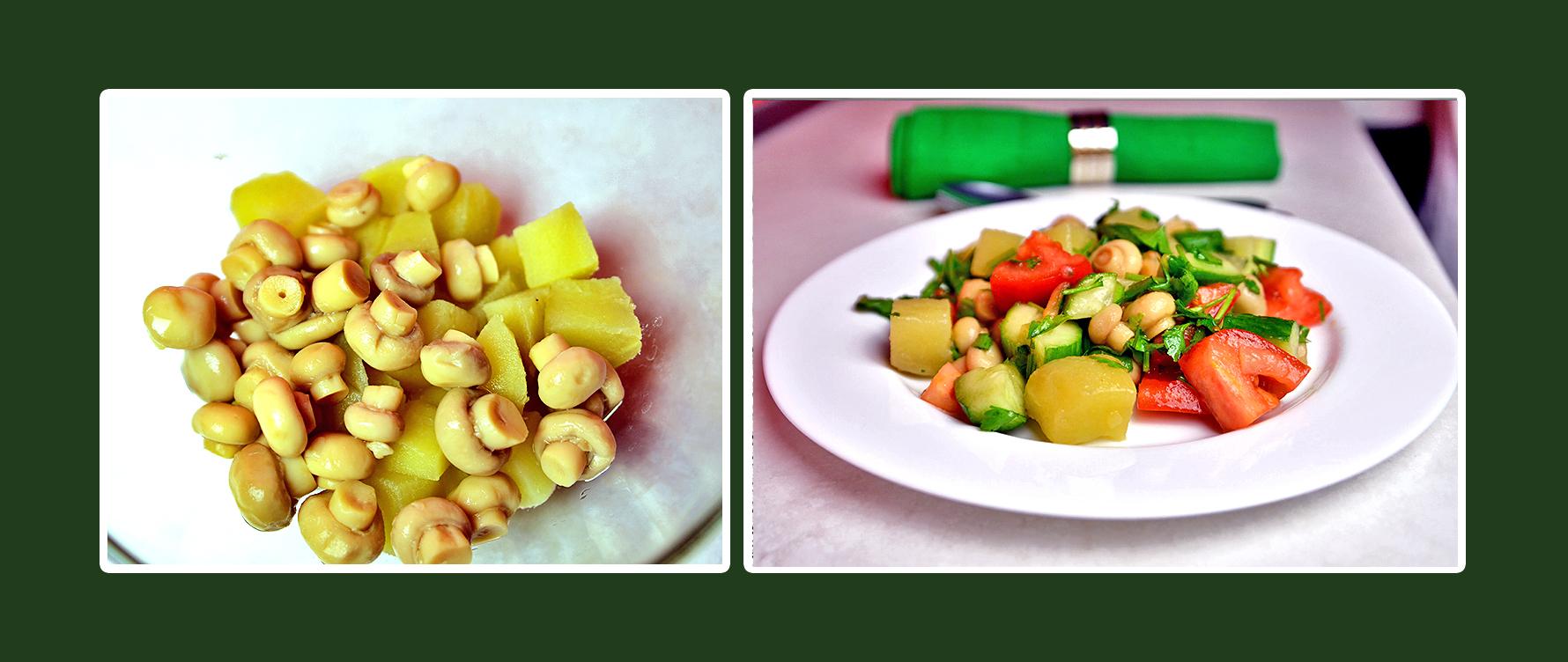 Gemüsesalat mit marinierten Champignons