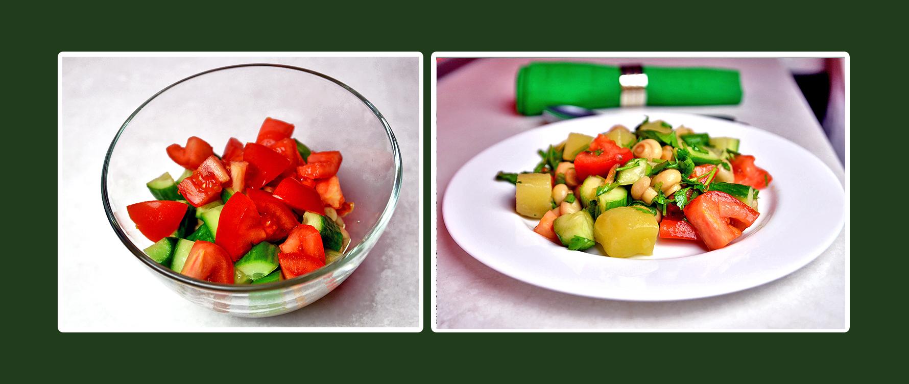 Gemüsesalat mit marinierten Champignons, Gurken und Tomaten