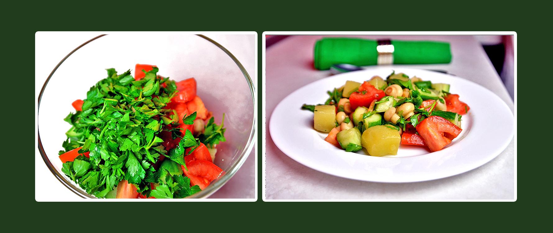 Gemüsesalat mit marinierten Champignons und Petersilie