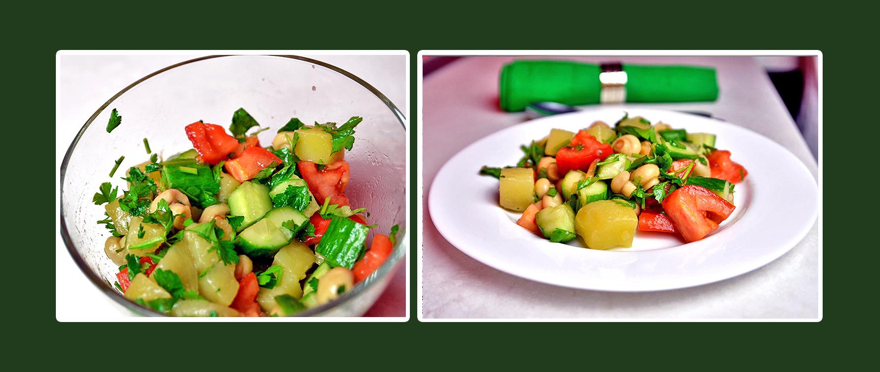 Gemüsesalat mit marinierten Champignons, Gurken, Tomaten und Petersilie