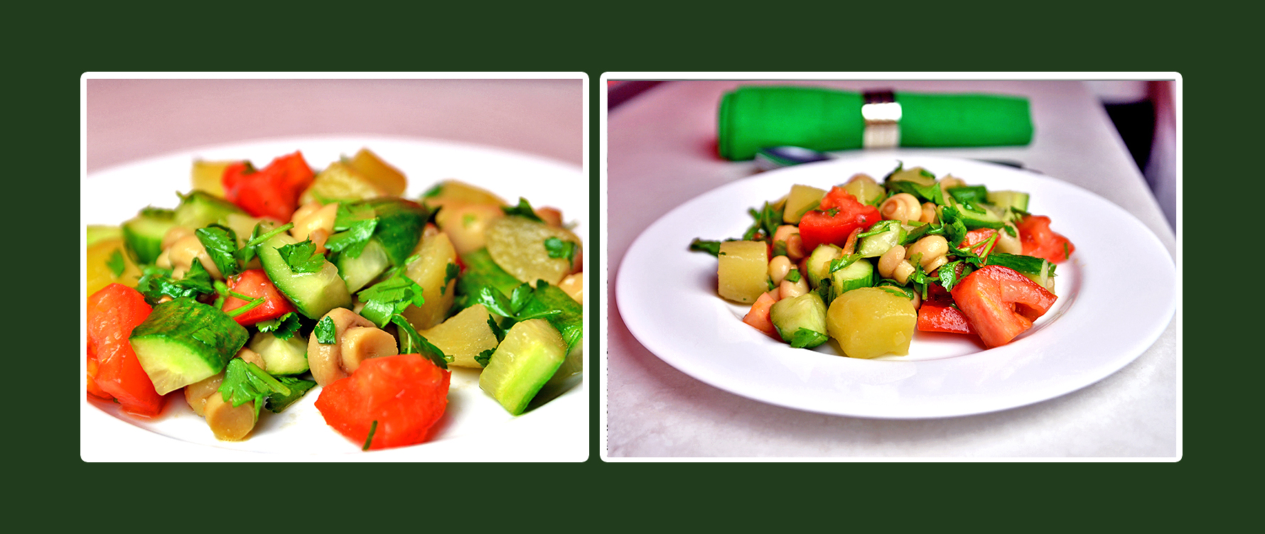 Gesunde Kost mit  Salat aus Gemüse und Pilzen