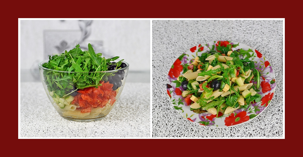 Nudelsalat mit Gemüse, Rucola, Oliven, Petersilie