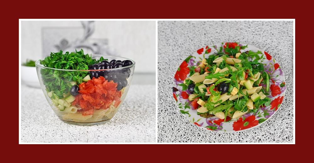 Nudelsalat mit schwarzen Oliven, Gemüse und Petersilie