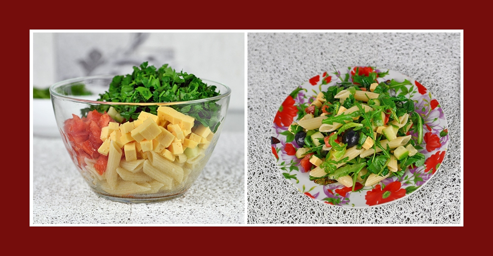 Nudelsalat mit Oliven, Gurken, Tomaten, Käse und Petersilie