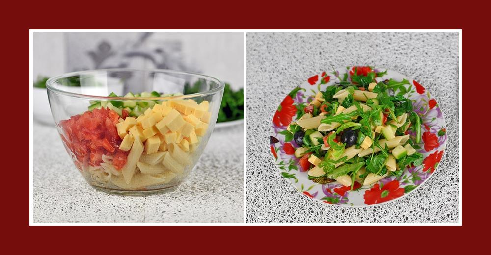 Mediterraner Salat mit Nudeln, Gurken, Tomaten und Käse Würfeln