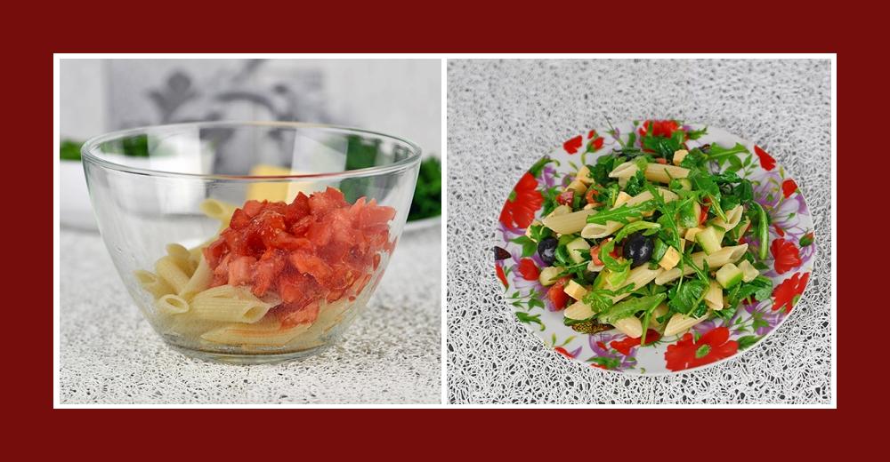 Mediterraner Salat mit Nudeln und Tomaten