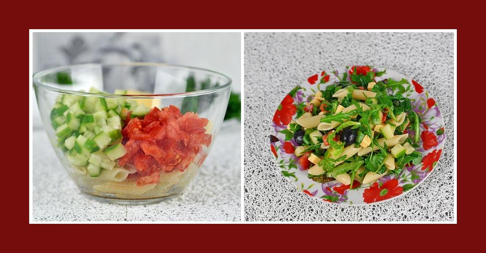 Mediterraner Salat mit Nudeln, Tomaten und Gurken