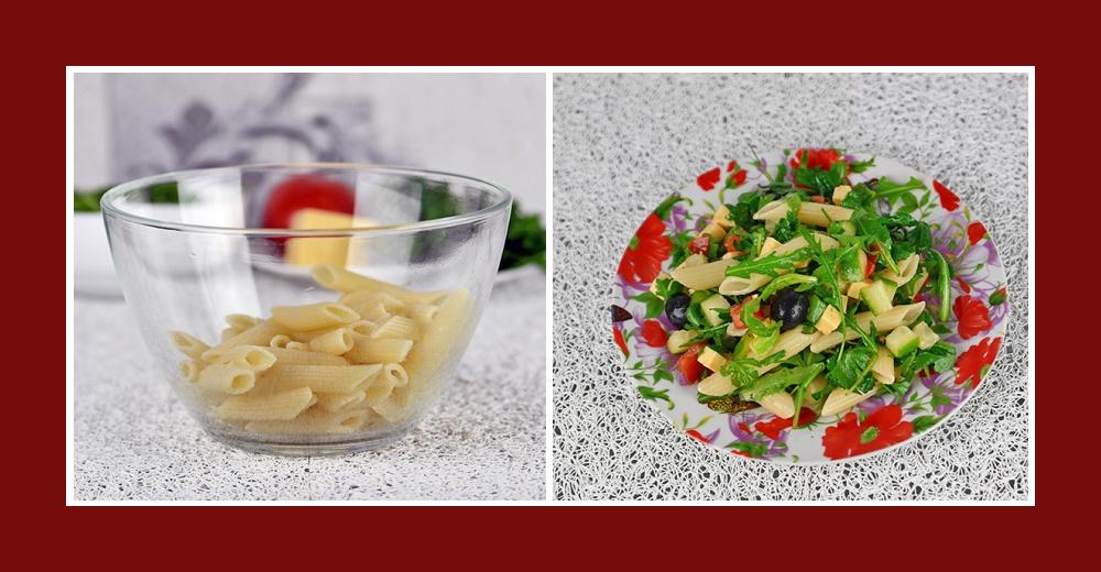 Mediterraner Nudelsalat mit frischem Gemüse